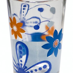 Set pahare 6 buc cu decor flori albastre, bauturi racoritoare Raki