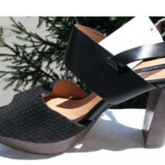 Sandale H&M piele naturala dama nr.40 NOI - Sandale dama H&m, Culoare: Negru