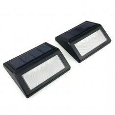 Lampa solara de exterior pentru luminat trepte cu lumina alb rece - set 2 bucati
