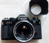 APARAT FOTO CANON AE-1 JAPAN CU OBIECTIV 50 mm SI FILTRU UV + PARASOLAR
