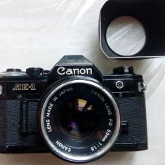 APARAT FOTO CANON AE-1 JAPAN CU OBIECTIV 50 mm SI FILTRU UV + PARASOLAR - Aparat Foto cu Film Canon