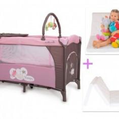 Patut Copii Pliabil Moni Sleepy Roz-Gri + Saltea Cocos - Patut pliant bebelusi