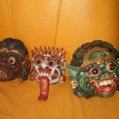 Masti din lemn lucrate manual - Masca carnaval, Marime: 33, Culoare: Burgundy