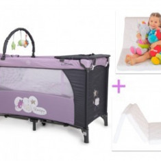 Patut Copii Pliabil Moni Sleepy Mov-Gri + Saltea Cocos - Patut pliant bebelusi