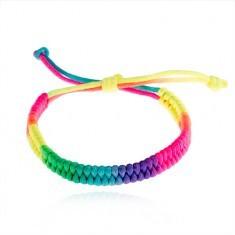 Brățară împletită cu șnururi, culori neon, lungime ajustabilă - Bratara prieteniei