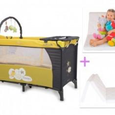 Patut Copii Pliabil Moni Sleepy Galben-Gri+Saltea Cocos - Patut pliant bebelusi