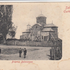 SALUTARI DIN CURTEA DE ARGES BISERICA DOMNEASCA CLASICA - Carte Postala Muntenia pana la 1904, Necirculata, Printata
