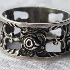 Inel argint SPLENDID vechi FRANTA 1900 Art Nouveau SUPERB executat manual RAR
