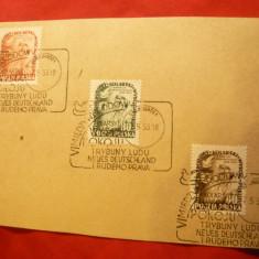 Carton prezentare filat. cu Seria Ciclism - Cursa Pacii 1953 , stampila Prima zi
