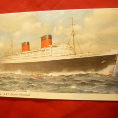 Ilustrata -Nave- Pachebotul RMP Queen Elisabeth, Compania Cunard, Necirculata, Printata