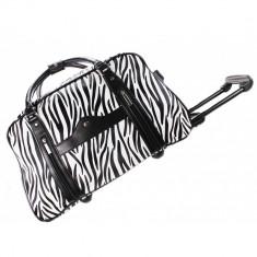 Geanta de voiaj neagra alba zebra / Geanta troller bagaj mana cala animal print - Geanta voiaj