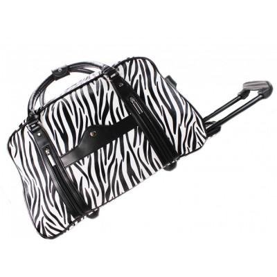 Geanta de voiaj neagra alba zebra / Geanta troller bagaj mana cala animal print foto