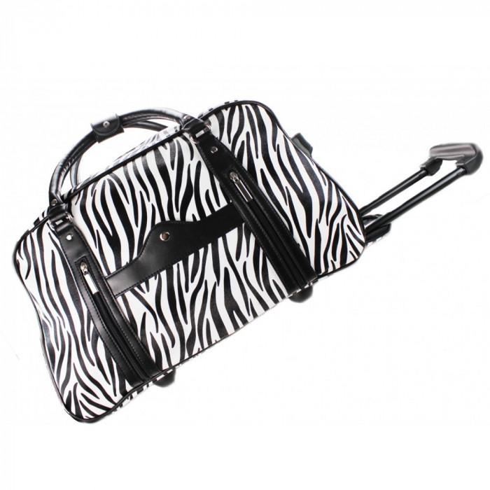 Geanta de voiaj neagra alba zebra / Geanta troller bagaj mana cala animal print