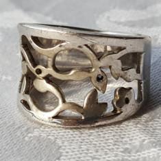 Inel argint motive vegetale SUPERB executat manual prin TRAFORAJ de Efect vechi