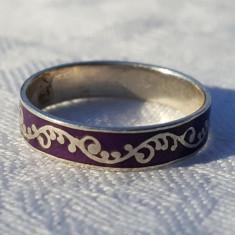 Inel argint cu email mov MEXIC vintage VECHI elegant DELICAT finut de EFECT RAR - Bijuterie veche