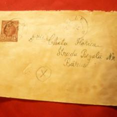 Plic circulat cu 15 bani Carol I Vulturi de la Craiova la Barlad 1889