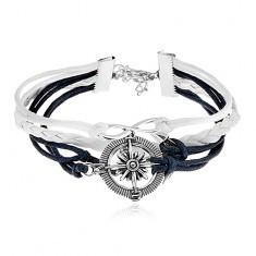 Brățară cu șnururi albastru închis și albe, simbolul INFINITULUI, ancoră, busolă - Bratara Fashion