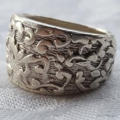 Inel argint MASIV art deco FRANTA 1920 vintage executat manual Patina minunata