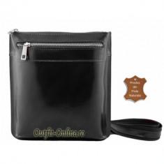 Geanta piele naturala neagra unisex Martin - import Italia - geanta barbat