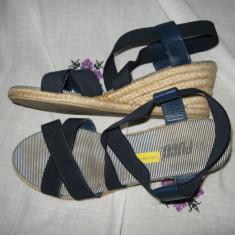 Sandale platforma Fugu Mar 40, 5/ 41 - Sandale dama, Culoare: Bleumarin, Textil