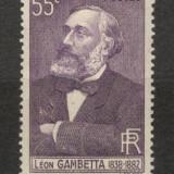 Franta.1938 100 ani nastere L.Gambetta-om de stat XF.68, Nestampilat