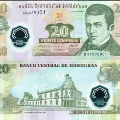!!! HONDURAS - 20 LEMPIRAS 2008 - P 95 - UNC / POLIMER - bancnota america