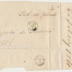 ROMANIA Moldova plic oficial aprox 1859 stampile Husi si Tecuci