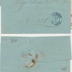 ROMANIA Moldova plic oficial aprox 1859 stampile Falticeni si Iasi