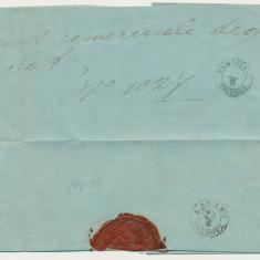 ROMANIA Moldova plic prefilatelic sau oficial stampile clare Focsani si Galati, An: 1859