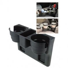 Suport auto multifunctional pentru pahare, accesorii, telefon, negru