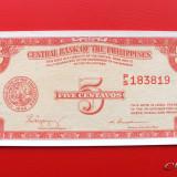 FILIPINE - 5 Centavos ND ( 1949 ) - UNC - bancnota asia
