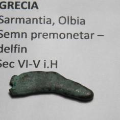 Semn premonetar- delfin sec VI-V i.H. Sarmantia, Olbia - Moneda Antica