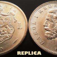 REPLICA argintata dupa moneda 5 LEI - anul 1880