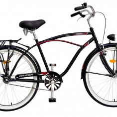 Bicicleta DHS Cruiser 2695 Culoare Negru Anvelope Albe - Bicicleta de oras