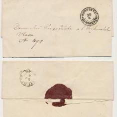 ROMANIA Moldova plic oficial aprox 1862 stampile Bucuresti dimineata si Giurgiu