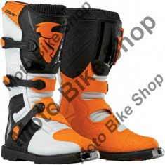 Cizme motocross Thor Blitz S5, alb/portocaliu, 12=47,