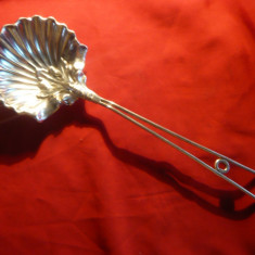 Piesa de servit scoici -lucrata manual, metal argintat -Art Deco L= 35 cm