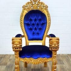 TRON DIN LEMN MASIV AURIU CU TAPISERIE DIN CATIFEA ALBASTRA M10098-gold-blau, Fotolii