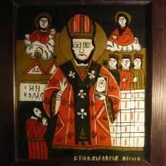 Icoana pe sticla - Sfantul Nicolae , semnata ,autor Ghe.Nicula ,dim.= 27,3x32cm