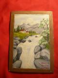 Pictura ulei pe carton - Peisaj , dim.= 9,6 x 14,5 cm(parte pictata) semnat Drag