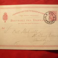 Carte Postala clasica Danemarca, 10 ore 1884, Circulata, Printata