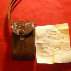 Etui din piele pt. Binoclu de Teatru cu atestat -1967 ,l= 15 cm