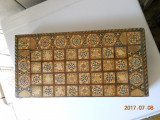 Caseta sah/table,cu puluri,bogat intarsiata stil oriental,39x19,5x8cm (inchisa)