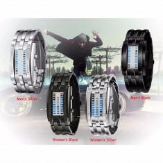 Ceas digital cu led bratara metalica dama si barbat silver si negru - Ceas led