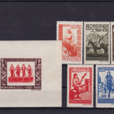 ROMANIA 1946, LP 204, LP 205, FDFR SERIE SI COLITA MNH - Timbre Romania, Nestampilat