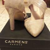 Pantofi piele Carmens Padova incaltaminte sandale dama 38 +CADOU! - Pantof dama Carmens, Culoare: Din imagine, Piele intoarsa, Cu toc