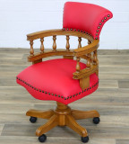 FOTOLIU CHESTERFIELD DIN LEMN DE MASIV CU TAPITERIE ROSIE MR-Captain-Chair-red, Fotolii