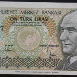 Bancnota 10 Lire Turcesti - TURCIA, anul 1970 UNC *cod 404 - bancnota europa