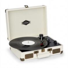 Nostalgy by auna Peggy Sue, gramofon retro, USB AUX, aspect crem / alama