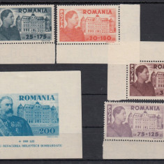ROMANIA 1945, LP 166, LP 167, FUNDATIA CAROL SERIE SI COLITA MNH - Timbre Romania, Nestampilat